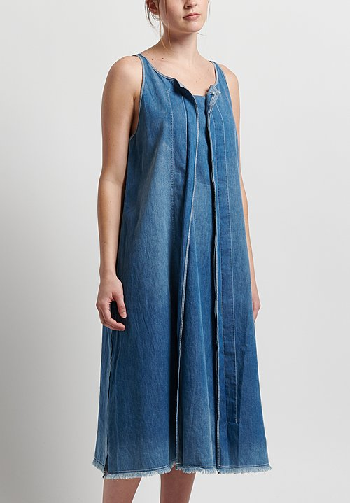 Rundholz Black Label Denim A-Line Dress in Indigo