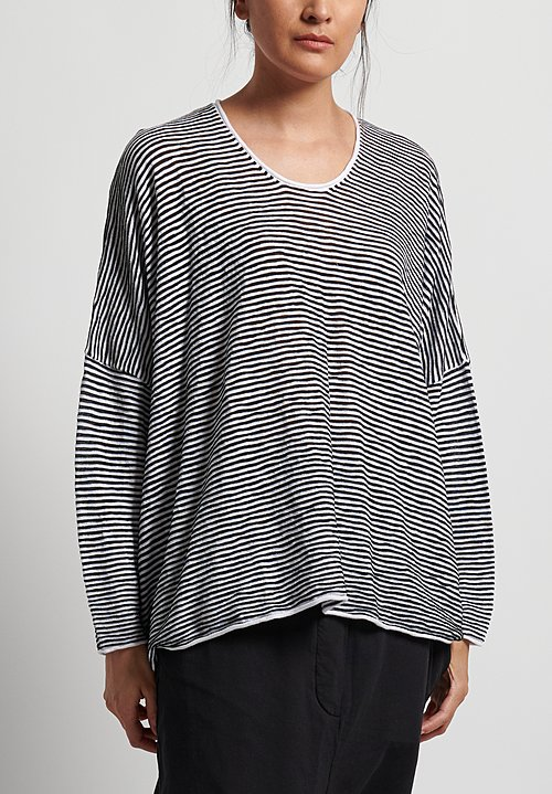 Rundholz Black Label Oversize Striped Top in Black/White