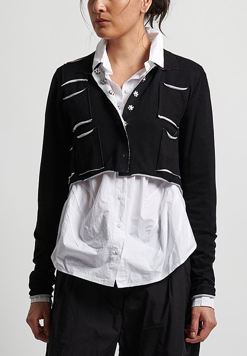 Rundholz Black Label Cotton Shrunken Cardigan in Black Print