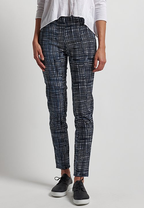 Rundholz Black Label Stretch Fitted Pants in Blue Check