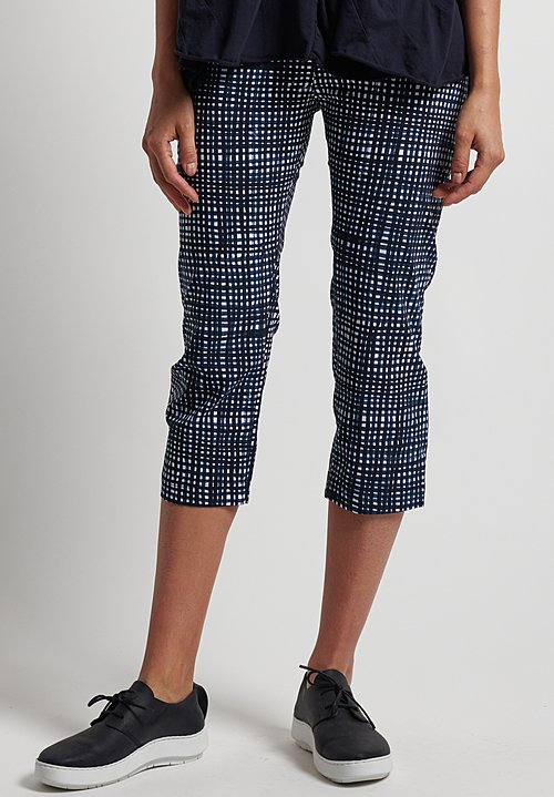 Rundholz Black Label Stretch Cropped Printed Pants in Blue Check