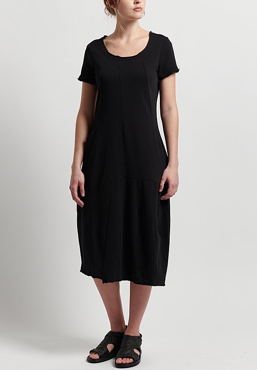 Rundholz Short Sleeve Fitted Dress in Black