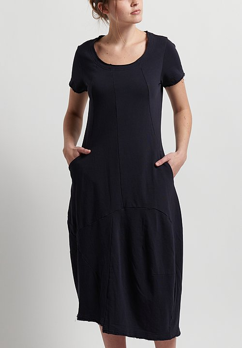 Rundholz Cotton Short Sleeve Fitted Dress in Deep Blue