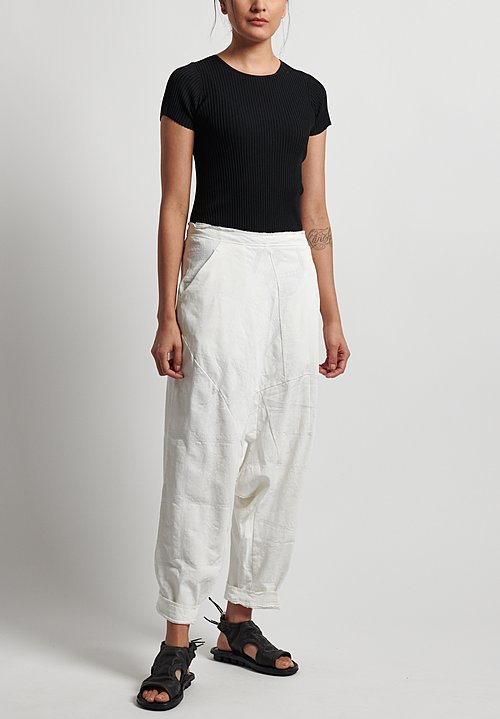 Rundholz Printed Drop Crotch Pants in Rice Print