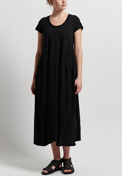 Rundholz Cotton Short Sleeve Long Dress in Black