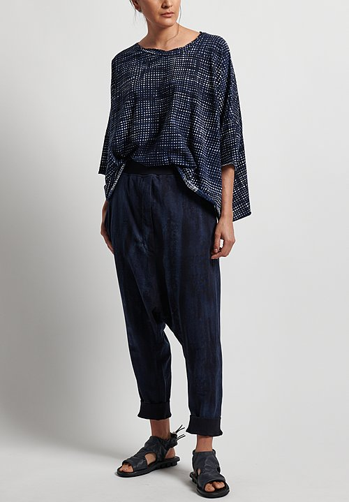 Rundholz Black Label Cotton Printed Pull-On Drop Crotch Pants in Martinique Print
