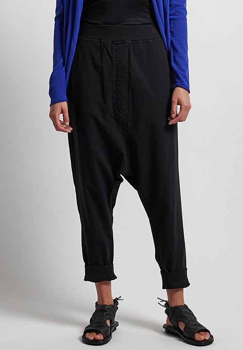 Rundholz Black Label Pull-On Drop Crotch Pants in Black
