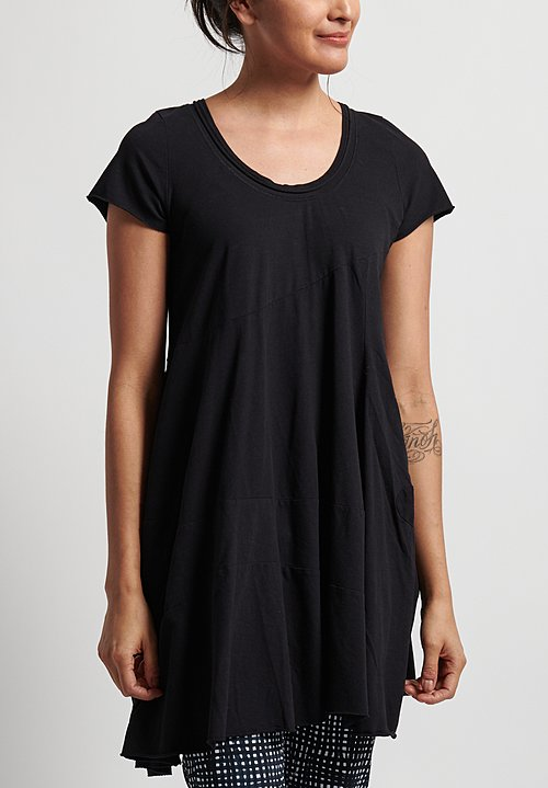 Rundholz Short Sleeve Scoop Neck Long Top in Black