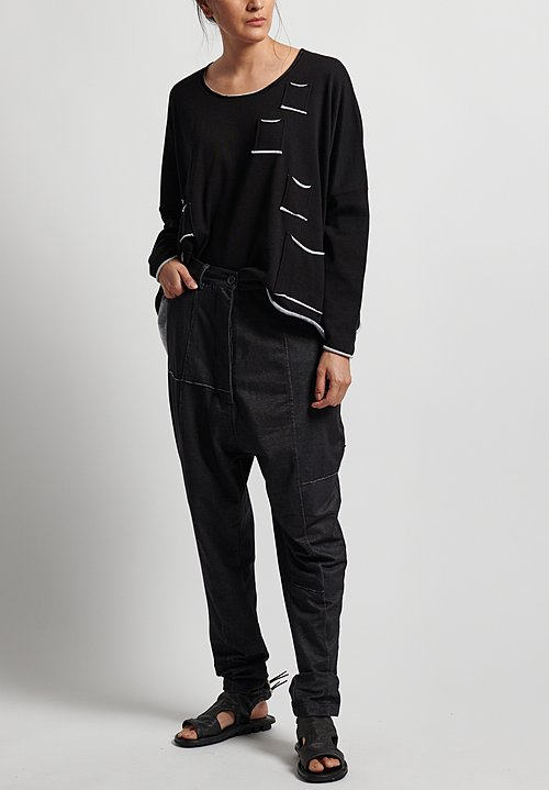 Rundholz Black Label Cotton Drop Crotch Patched Pants in Black