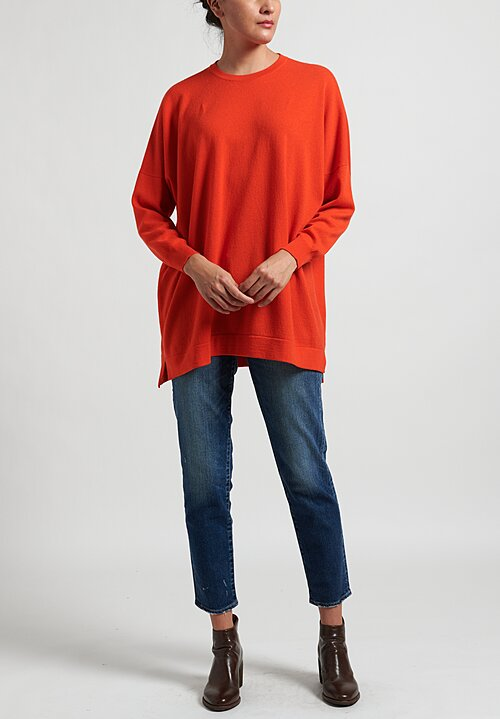 Hania New York Cashmere Marley Crewneck in Orange Gloss