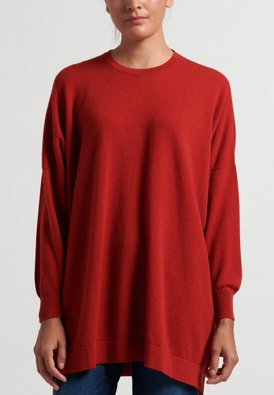 Hania New York Cashmere Marley Crewneck in Red