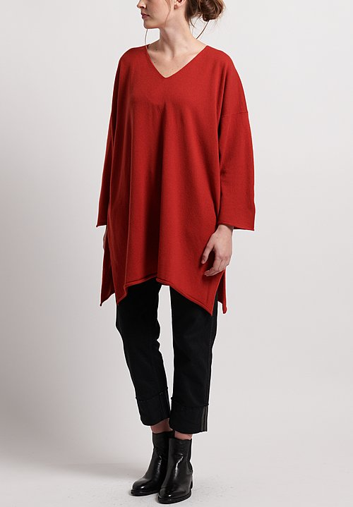 Hania New York Cashmere Sylvie V-Neck Sweater in Red Dulse
