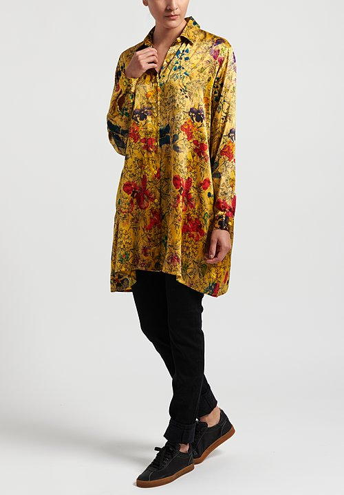 Avant Toi Silk Oversized Floral Blouse in Gold