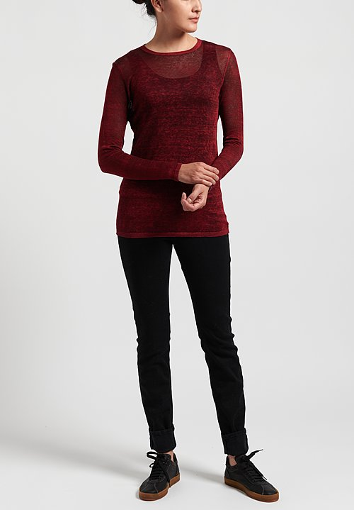 Avant Toi Linen Semi-fitted Lightweight Sweater in Nero/ Melograno