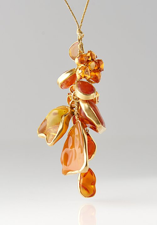 Pippa Small 18K, Amber & Fire Opal Colette Cluster Necklace