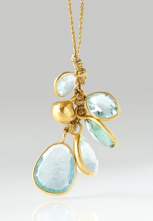 Pippa Small 18K, Aquamarine Colette Set Cluster and Bell Necklace