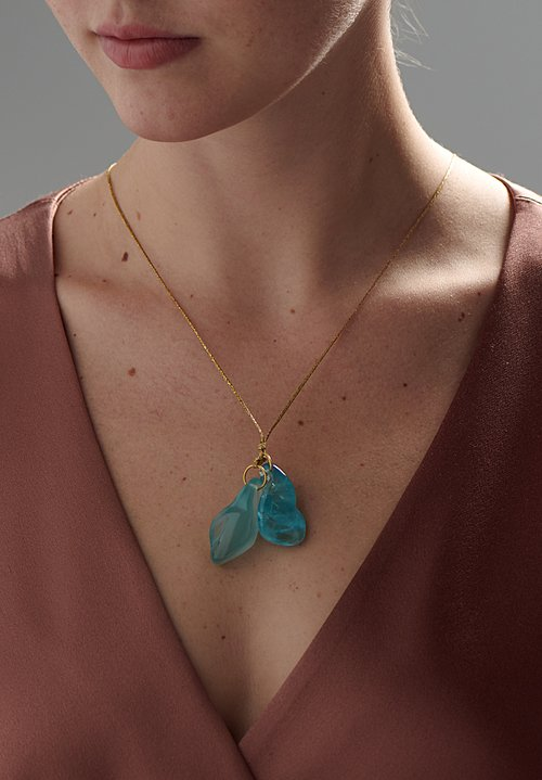 Pippa Small 18K, Aquamarine Cluster and Bell Necklace