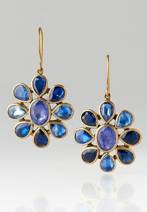 Pippa Small Brass, Tanzanite, Kyanite Flower Earrings