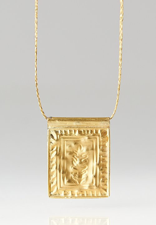 Pippa Small 18K, Gold Wheat Grain Pendant Necklace