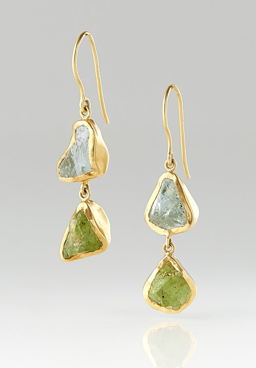 Pippa Small 18K, Aquamarine Rough Double Drop Earrings