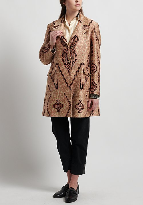 Etro Runway Woven Pattern Coat in Peach