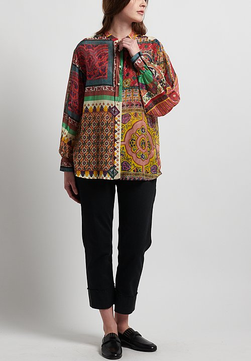 Etro Runway Cotton/Silk Relaxed Printed Shirt in Multicolor