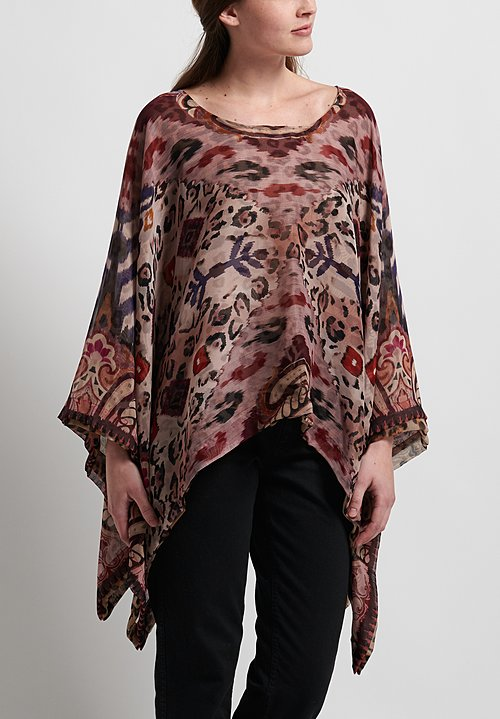 Etro Runway Silk Reversible Poncho in Purple
