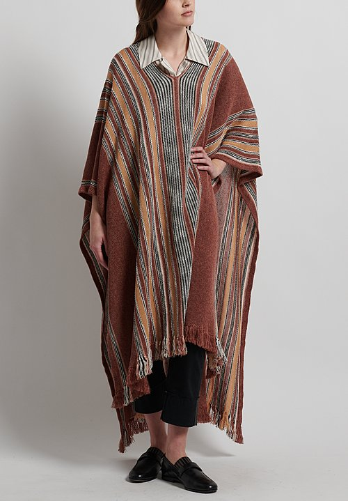 Etro Runway Linen/ Silk / Cotton Knitted Poncho in Chestnut