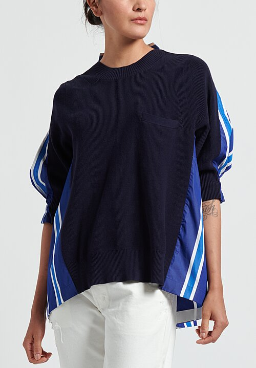 Sacai Cotton Poplin Pullover in Blue