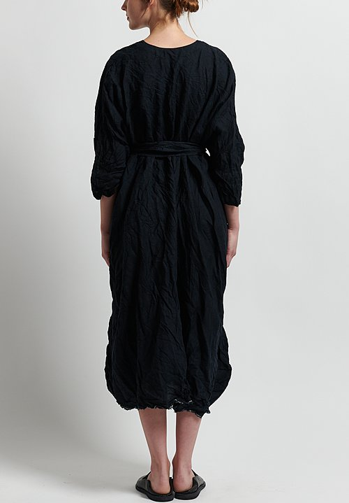 Daniela Gregis Washed Linen Oversized Honey Dress in Black