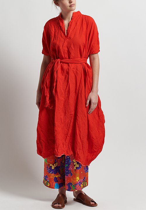 Daniela Gregis Washed Linen Honey Manichina Dress in Red
