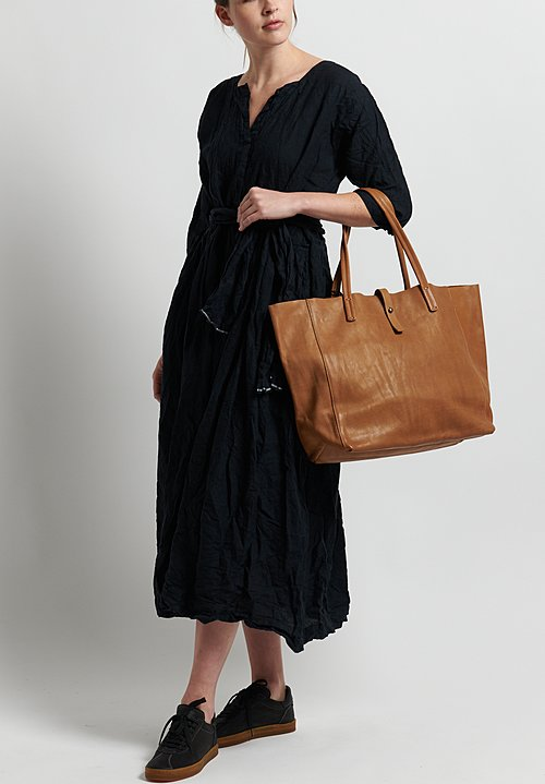 Daniela Gregis Washed Linen Honey Worker Dress in Black