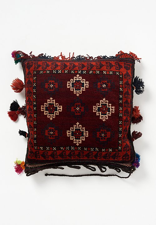 Antique and Vintage Afghan Square Hand-Knotted Tassel Pillow in Maroon