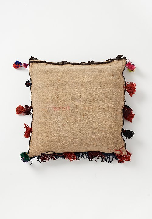 Afghan Hand-Knotted Square Tassel Pillow