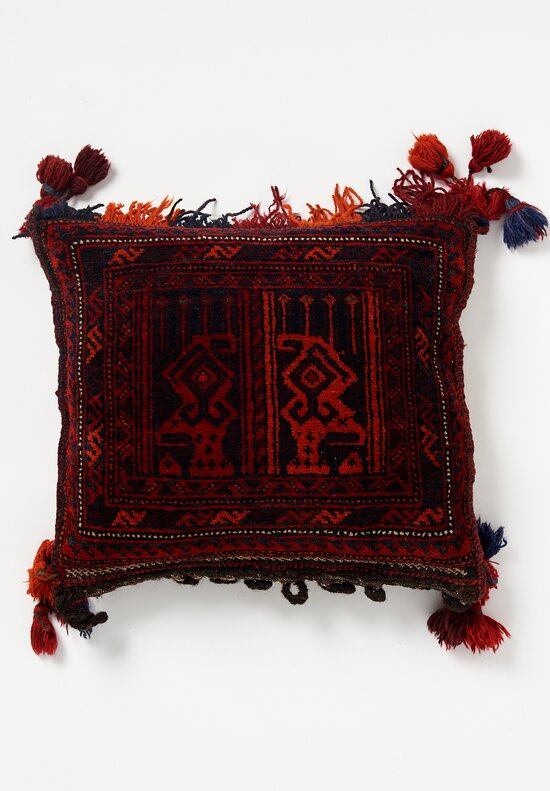 Antique and Vintage Afghan Hand-Knotted Fringe Pillow in Maroon
