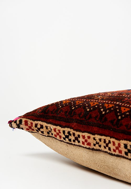 Afghan Hand-Knotted & Loops Square Pillow
