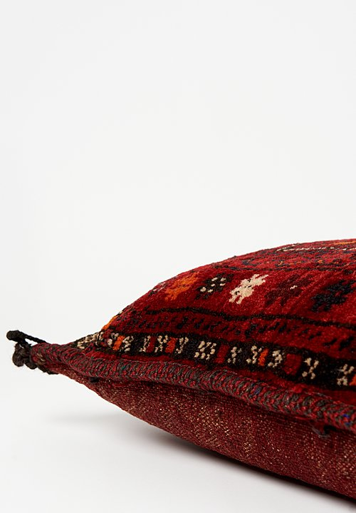 Antique and Vintage Afghan Hand-Knotted Pillow in Red