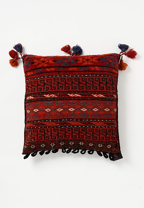 Antique and Vintage Afghan Soumak & Hand-Knotted Square Pillow in Red