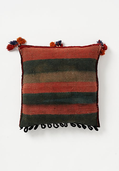 Afghan Soumak & Hand-Knotted Square Pillow