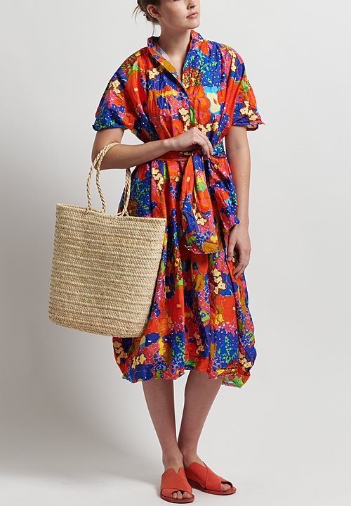 Daniela Gregis Washed Cotton Thousand Flowers Dress in Orange