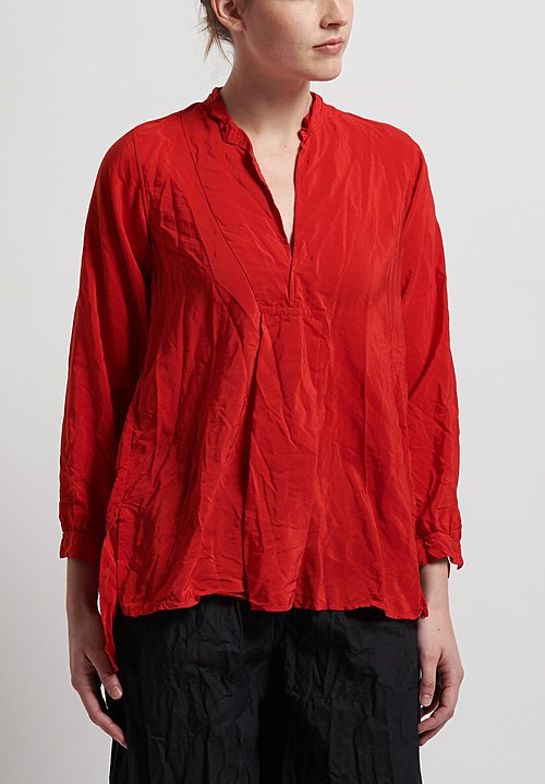 Daniela Gregis Washed Silk Long Kora Top in Red
