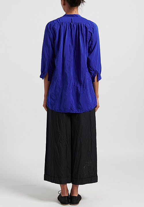Daniela Gregis Washed Silk Long Kora Top in Electric Blue