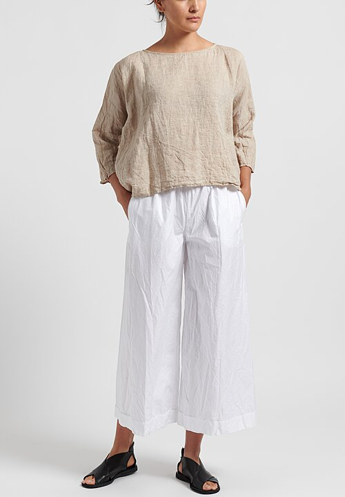 Daniela Gregis Washed Cotton Wide Leg Pants in White