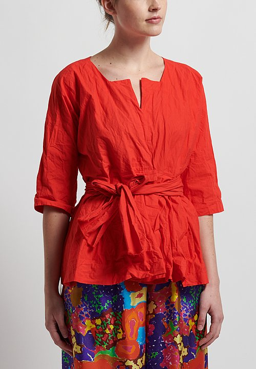 Daniela Gregis Washed Cotton Wisteria Tie Jacket in Red