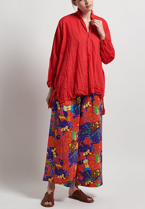 Daniela Gregis Washed Silk Floral Pants in Orange