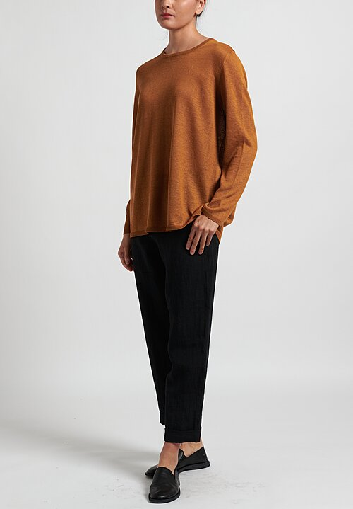 Daniela Gregis Knit Crew Neck Top in Gold