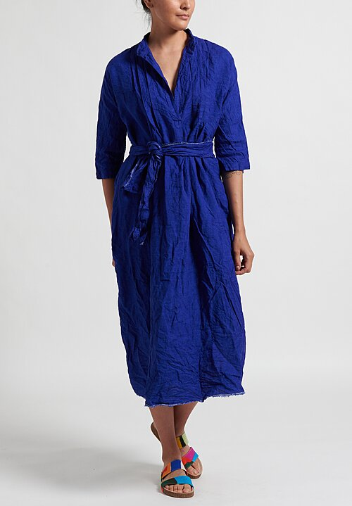 Daniela Gregis Washed Linen Millefiore Dress in Electric Blue