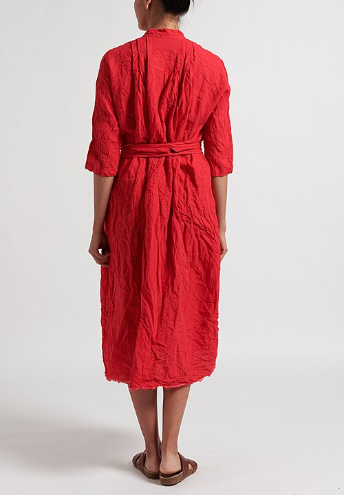 Daniela Gregis Washed Linen Millefiore Dress in Red
