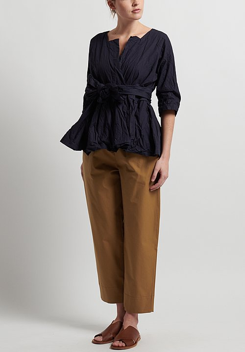 Daniela Gregis Cigarette Leg Pants in Dark Natural
