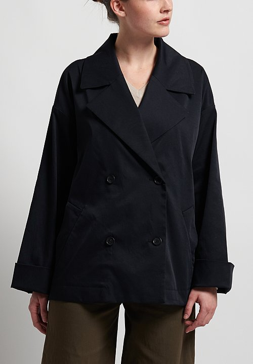Peter O. Mahler Rainwear Double Breasted Jacket in Black